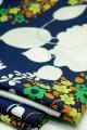 布地  紺地 花柄 115cm×232cm