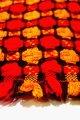 コタツ上掛 コタツカバー  赤×オレンジ丸模様