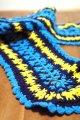 手編みマフラー 青×紺×黄色