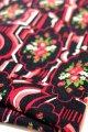 布地 黒×赤 薔薇柄 92cm×70cm
