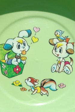 画像1: サンエイ(三栄) 黄緑色動物柄風呂桶 30cm