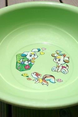 画像2: サンエイ(三栄) 黄緑色動物柄風呂桶 30cm