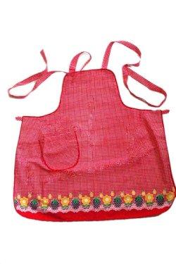 画像2: エプロン 赤チェック花とイチゴ柄