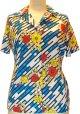 ドリーブ半袖シャツ 花柄斜めストライプ