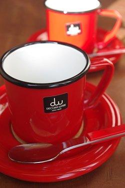 画像1: デコラウェア ホーローカップ&ソーサー 赤 スプーン付
