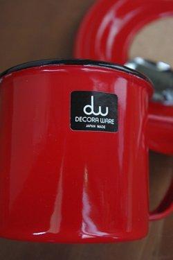 画像2: デコラウェア ホーローカップ&ソーサー 赤 スプーン付
