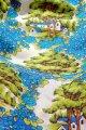 カーテン 青い花と木と家柄 フリル付 200cm×130cm